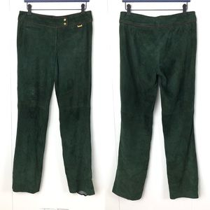 RALPH LAUREN Black Label Green Suede Pants Size 10